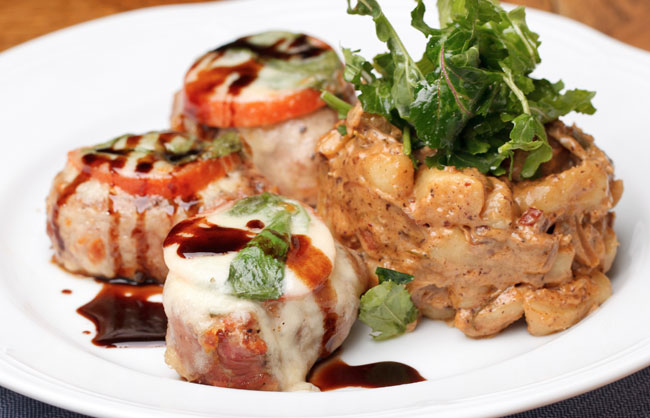 Grilled Pork Mahon Cheese Medallions